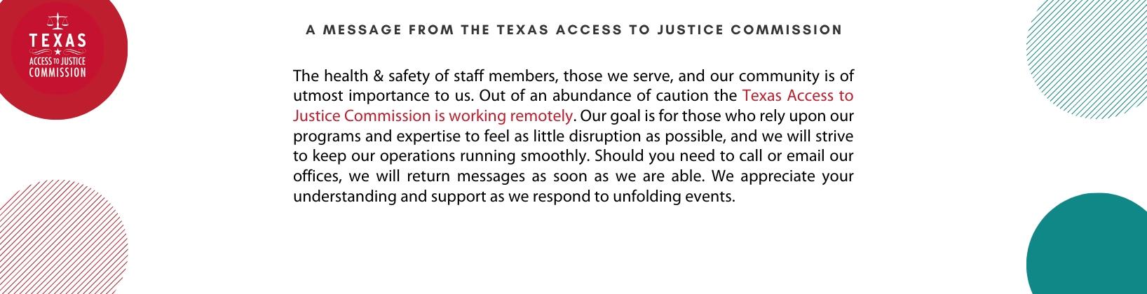 A Message from the Texas Access to Justice Commission about working remotely during the Coronavirus Outbreak